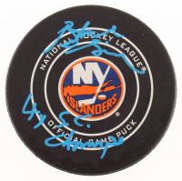 """Butch Goring Signed New York Islanders Logo Hockey Puck Inscribed """"4x S.C. Champs"""" (MAB Hologram) at PristineAuction.com"""