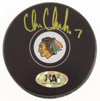 Chris Chelios Signed Chicago Blackhawks Logo Hockey Puck (MAB Hologram) at PristineAuction.com