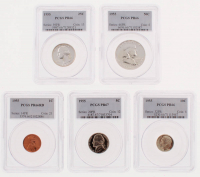1955 US Mint PCGS Graded Proof Set with 1¢ One Cent (PCGS PR66RD), 5¢ Five Cent (PCGS PR67), 10¢ Ten Cent (PCGS PR66), 25¢ Twenty-Five Cent (PCGS PR66), & 50¢ Half Dollar (PCGS PR66) at PristineAuction.com