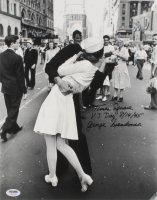 "George Mendonsa Signed 11x14 Photo Inscribed ""Times Square V.J. Day 8/14/45"" (Beckett COA) at PristineAuction.com"
