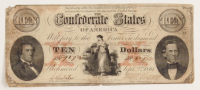 1861 $10 Ten Dollars Confederate States of America Richmond CSA Bank Note Bill - T26 at PristineAuction.com