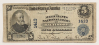 1902 $5 Five Dollars U.S. National Currency Large Bank Note - The Merchants National Bank of Baltimore, Maryland at PristineAuction.com