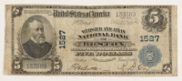 1902 $5 Five Dollars U.S. National Currency Large Bank Note - Webster and Atlas National Bank of Boston, Massachusetts at PristineAuction.com