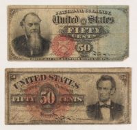 Lot of (2) 1863 United States 50¢ Fifty Cents Fractional Bank Note Bills with Lincoln & Stanton at PristineAuction.com