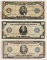 Lot of (3) 1914 Federal Reserve Bank Notes with $5, $10 & $20 at PristineAuction.com