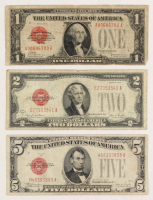 1928 U.S. Red Seal Bank Note Set of (3) with $1, $2 & $5 at PristineAuction.com