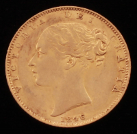 1846 British Gold Sovereign Coin at PristineAuction.com