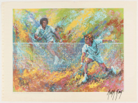 """Mark King Signed """"Arthur Ashe & Jimmy Conners in Action"""" 16x12 Foldout Reproduction Lithograph (PA LOA) at PristineAuction.com"""