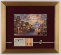 Disneyland 13x14.5 Custom Framed Print Display with Ticket Booklet & Brass Mickey Mouse Pin at PristineAuction.com