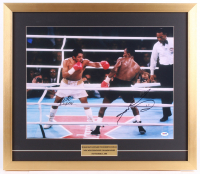 Sugar Ray Leonard & Roberto Duran Signed 22x25.5 Custom Framed Photo Display (PSA COA) at PristineAuction.com