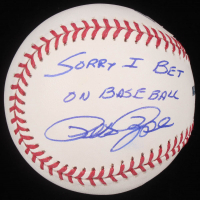 """Pete Rose Signed OML Baseball with Display Case Inscribed """"I'm Sorry I Bet On Baseball"""" (PSA COA) at PristineAuction.com"""