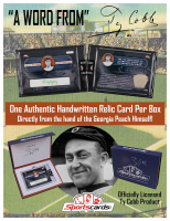 """Ty Cobb """"A Word From"""" Authentic Hand-Written Relic Card Factory Sealed Box at PristineAuction.com"""