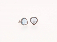 Sterling Silver Simulated Sky Blue Spinel Pave Halo Stud Earrings at PristineAuction.com