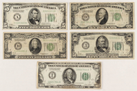 1928 Federal Reserve Bank Note Set of (5) with $5, $10, $20, $50 & $100 at PristineAuction.com