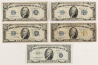 Lot of (5) $10 Ten Dollar Silver Certificate Bank Notes with 1934-A North Africa, 1934, 1934-C, 1934-D & 1953 at PristineAuction.com