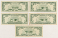 Lot of (5) 1963 $5 Five-Dollar Red Seal United States Legal Tender Notes at PristineAuction.com