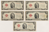 Lot of (5) 1928 $2 Two-Dollar Red Seal United States Legal Tender Notes at PristineAuction.com