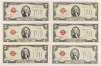 Lot of (6) 1928 $2 Two-Dollar Red Seal United States Legal Tender Notes at PristineAuction.com