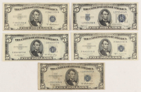 Lot of (5) 1934-1953 $5 Five Dollar Silver Certificate Bank Notes at PristineAuction.com