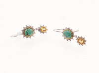 Sterling Silver Turquoise & Citrine Drop Earrings at PristineAuction.com