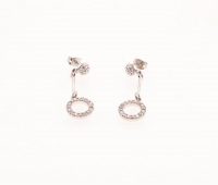 Simulated Diamond Circle Drop Earrings at PristineAuction.com