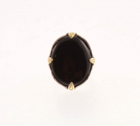 Silver/14k Gold Plate Prongs Black Onyx Ring-SZ 7 at PristineAuction.com