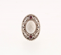 Sterling Silver White Agate & Gemstones Ring-SZ 6 at PristineAuction.com