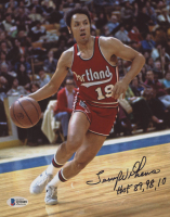 """Lenny Wilkens Signed Portland Trail Blazers 8x10 Photo Inscribed """"HOF 89, 98, 10"""" (Beckett COA) at PristineAuction.com"""