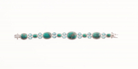 "Silver Turquoise & Swiss Blue Topaz Bracelet 8.2"" at PristineAuction.com"