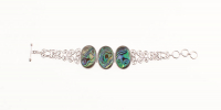 "Sterling Silver Oval Abalone Toggle Bracelet 8.5"" at PristineAuction.com"