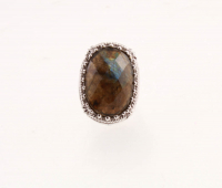 Sterling Silver Labradorite Scrollwork Ring-SZ 5 at PristineAuction.com
