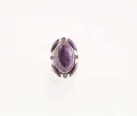 Silver Charoite & Amethyst North-South Ring -SZ 7 at PristineAuction.com