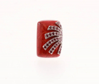 Silver Coral & Rhodolite Garnet Overlay Ring-SZ 6 at PristineAuction.com