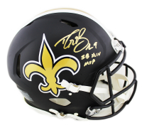"Drew Brees Signed New Orleans Saints Full-Size Authentic On-Field Matte Black Speed Helmet Inscribed ""SB XLIV MVP"" (Beckett COA) at PristineAuction.com"
