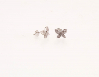 Simulated Diamond Pavé Butterfly Stud Earrings at PristineAuction.com