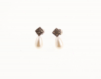 Freshwater Pearl & Marcasite Drop Earrings at PristineAuction.com