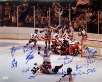 "1980 Team USA ""Miracle On Ice"" 16x20 Photo Signed by (14) with Jim Craig, Mike Eruzione, Bill Baker, Dave Christian, Steve Christoff, Steve Janaszak, Rob McClanahan (JSA COA) at PristineAuction.com"
