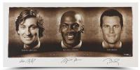 "Wayne Gretzky, Michael Jordan & Tom Brady Signed ""Faces of Sports"" 24x48 LE Photo (UDA COA) at PristineAuction.com"