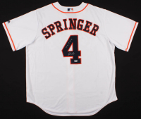 """George Springer Signed Houston Astros Jersey Inscribed """"1st HR 5/18/14""""(Beckett COA) at PristineAuction.com"""