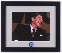 "Ronald Reagan 13x15 Custom Framed Photo Display with 1980 ""Make America Great Again"" Pin at PristineAuction.com"