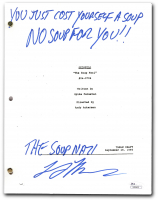 "Larry Thomas Signed ""Seinfeld: The Soup Nazi"" Episode Script Inscribed ""You Just Cost Yourself A Soup, No Soup For You!!"" & ""The Soup Nazi"" (JSA COA) at PristineAuction.com"