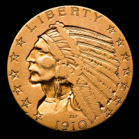 1910 $5 Indian Head Half Eagle Gold Coin at PristineAuction.com