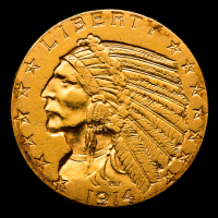 1914 $5 Indian Head Half Eagle Gold Coin at PristineAuction.com