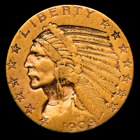 1909 $5 Indian Head Half Eagle Gold Coin at PristineAuction.com