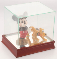Lot of (2) Vintage Disney Ceramic Figurines with Mickey Mouse & Pluto with High Quality Display Case at PristineAuction.com