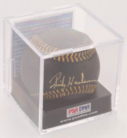 Rickey Henderson Signed OML Black Leather Baseball with Display Case (PSA COA - Graded 9.5) at PristineAuction.com