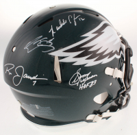 "Philadelphia Eagles Full-Size Authentic On-Field Speed Helmet Signed By (4) with Donavan McNabb, Randall Cunningham, Ron Jaworski & Sonny Jurgensen Inscribed ""HOF 83"" (JSA COA) at PristineAuction.com"