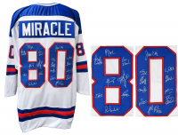 Jersey Team-Signed by (18) with Jim Craig, Mike Eruzione, Ken Morrow, Dave Silk (Schwartz COA) at PristineAuction.com