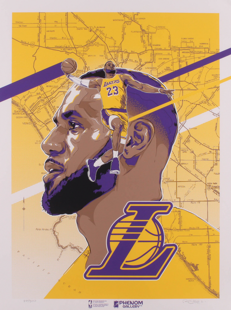 LeBron James Los Angeles Lakers 18x24 Lithograph Signed by Original Artist at PristineAuction.com