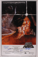 """Star Wars"" 27x40 Movie Poster Cast-Signed by (11) with Harrison Ford, Mark Hamill, Carrie Fisher, Peter Mayhew, Anthony Daniels with Multiple Inscriptions (Beckett LOA) at PristineAuction.com"